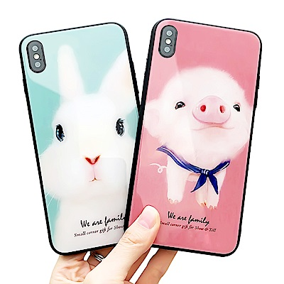 iStyle iPhone X 玻璃鏡面水手豬兔手機殼