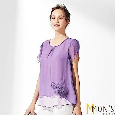 MONS 蕾絲刺繡打褶雪紡上衣