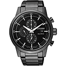 CITIZEN 光動能簡約質感三眼計時腕錶(CA0615-59E)-黑/43mm