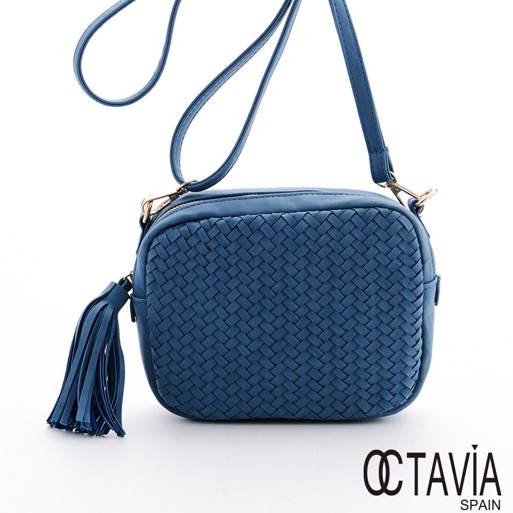 OCTAVIA - 編織盒子 V字編小方圓肩背斜包- 淺天藍