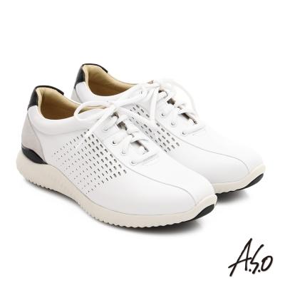 A.S.O 3D超動能 真皮沖孔奈米綁帶休閒男鞋 白色