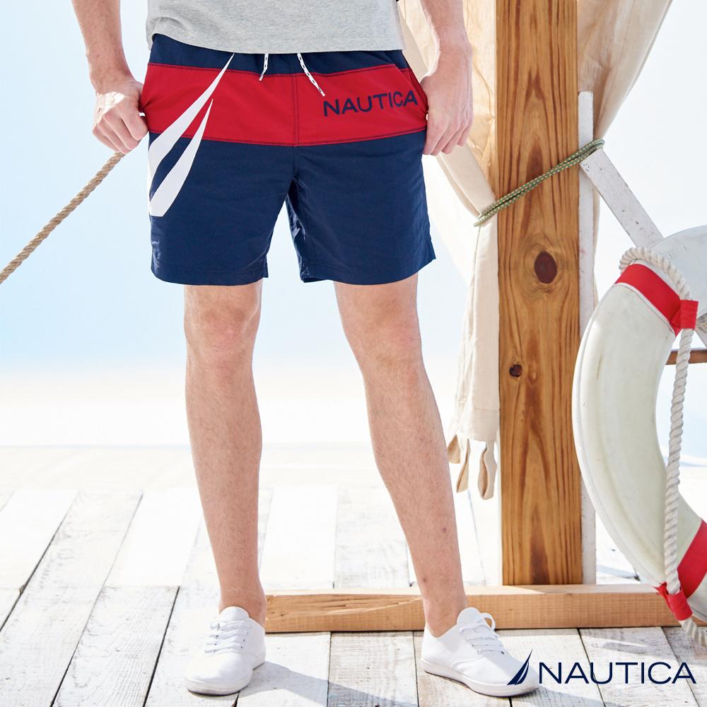 Nautica 經典休閒涼感尼龍短褲-深藍