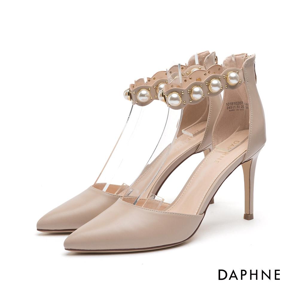 達芙妮DAPHNE 高跟鞋-繞踝花邊珠飾鉚釘高跟鞋-杏