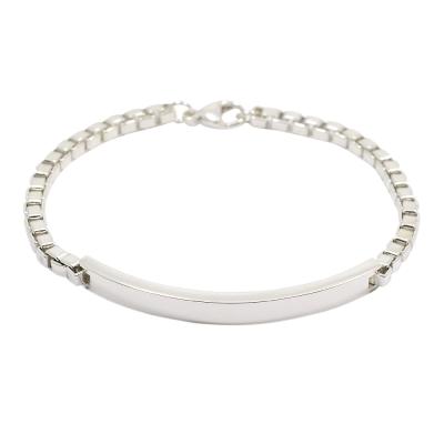 Tiffany&Co. 威尼斯ID鍊條造型 男士純銀手鐲手鍊