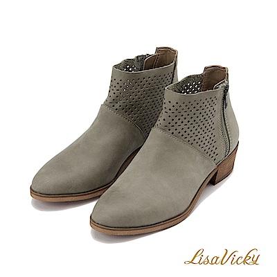 LisaVicky部落客首選洞洞牛皮低跟短靴-深褐色