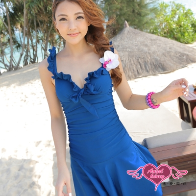 天使霓裳 蜜糖甜心 一件式加大尺碼連身泳衣(深藍M~2L)