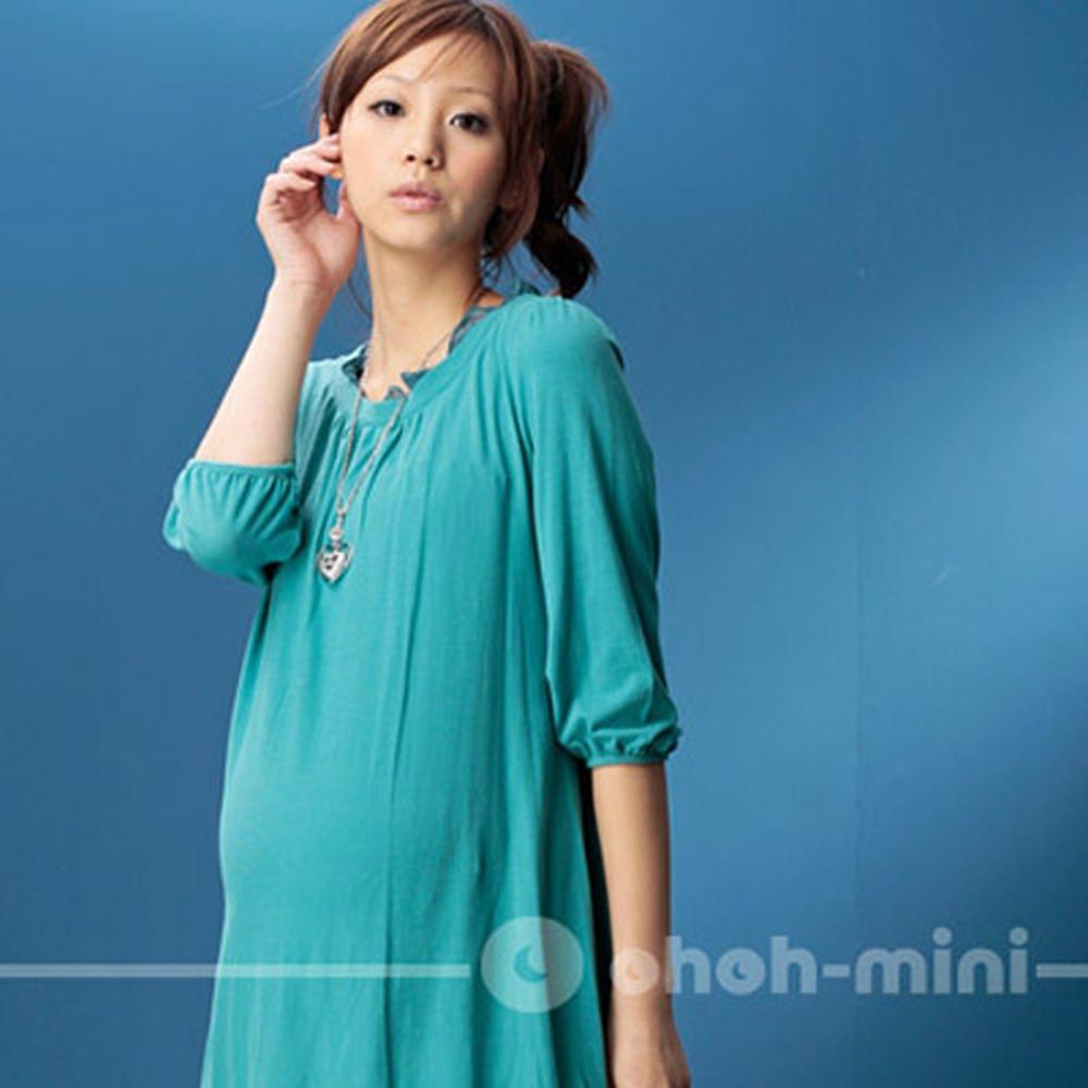【ohoh-mini孕婦裝】時尚名媛‧五分袖棉柔孕婦洋裝