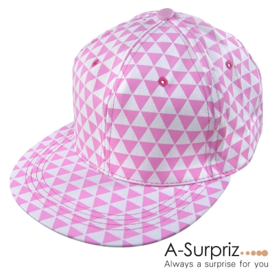 A-Surpriz 潮流三角格紋圖騰棒球帽(粉)