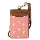 COACH粉紅蝴蝶圖騰拼接駝邊真皮掛式證件票卡夾