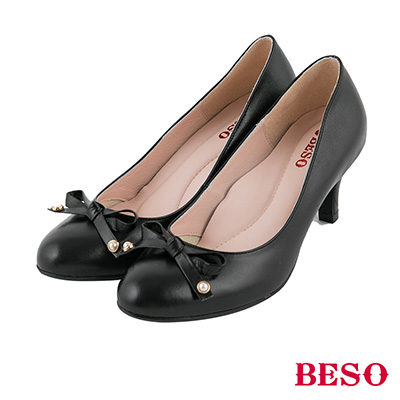 BESO 極簡甜美 優雅珍珠蝴蝶結高跟鞋~黑