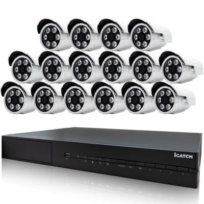 奇巧AHD1080P 16路iCATCH監控雙硬碟款主機含SONY攝影機x16