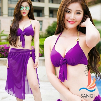 SANQI三奇 俏麗艷夏 三件式鋼圈泳衣(紫M~XL)