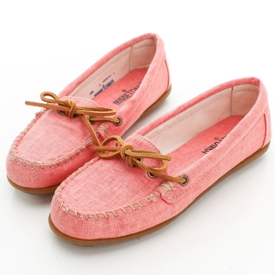 MINNETONKA帆布帆船莫卡辛 平底鞋-限量款-甜蜜粉 (展示品)