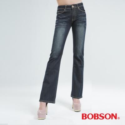 BOBSON [熱感IN]小喇叭褲-復古藍