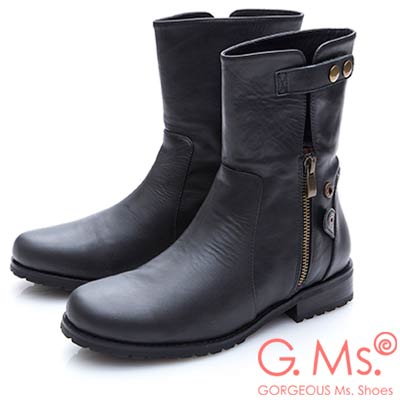 G.Ms. 牛皮2WAY拉鍊反折短靴-黑色