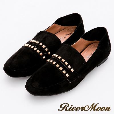 River&Moon時尚品味.韓式麂絨鉚釘可踩踏樂福鞋-黑