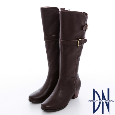 DN 都會時尚 顯瘦牛皮金屬皮帶釦低跟長靴 咖