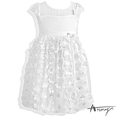 Annys 鏤空雪紡立體花朵網紗禮服*5108白