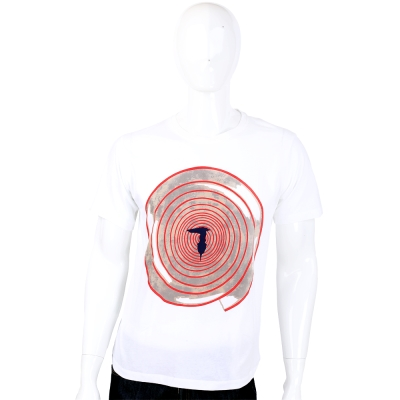 TRUSSARDI 白色漩渦LOGO設計短袖上衣