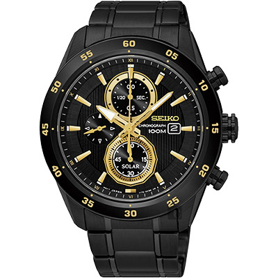 SEIKO精工 Criteria 零極限三眼計時腕錶(SSC541P1)-黑/44mm