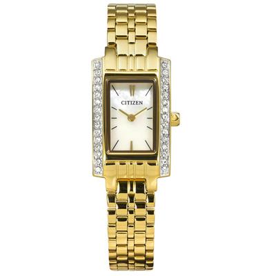 CITIZEN 珍珠母貝礦石強化玻璃不鏽鋼手錶-銀白x鍍金/15mm