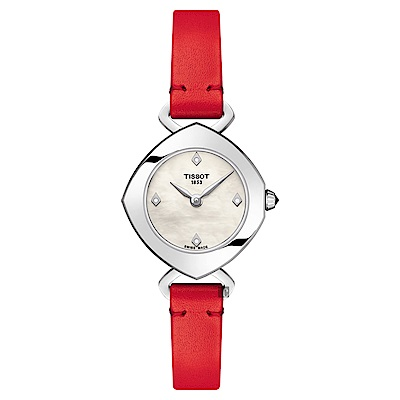 TISSOT天梭 Femini-T 都會儷人真鑽女錶-珍珠貝x紅/23mm