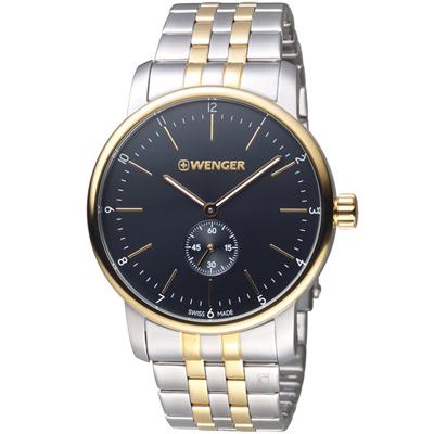 瑞士WENGER Urban 都會系列 經典小秒針紳士腕錶-銀色x玫瑰金色/42mm