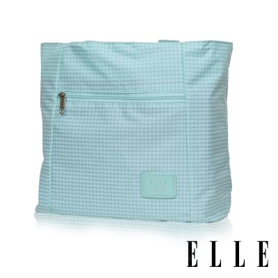 ELLE 輕旅休閒可掛式摺疊收納尼龍手提肩背包-格紋綠