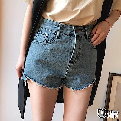 抽鬚下擺牛仔短褲 三色-mini嚴選