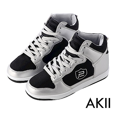 【AKII】極簡時尚高筒休閒鞋 ↑8cm 黑銀