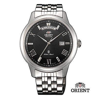 ORIENT 東方錶 WILD CALENDAR系列 寬幅日曆機械錶 鋼帶款 黑色