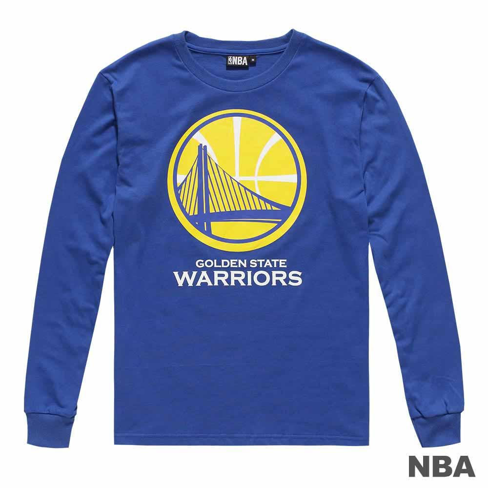 NBA-金洲勇士隊經典LOGO大圖印花圓領長袖薄T恤-藍 (男)