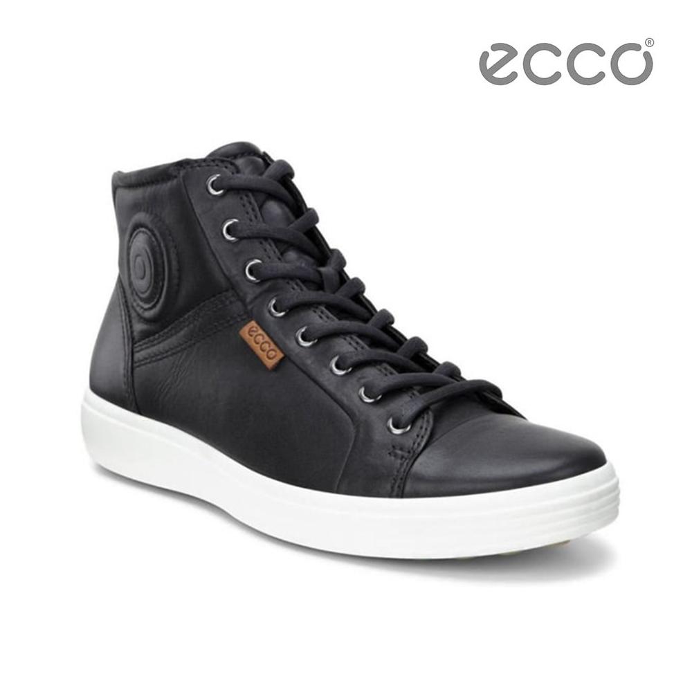 ECCO SOFT 7 MEN'S 運動風高筒休閒鞋-黑