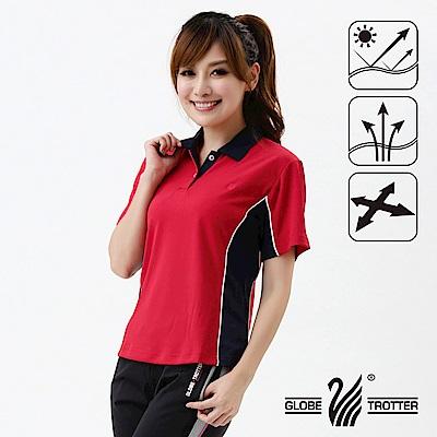 【遊遍天下】MIT台灣製女款吸濕排汗抗UV機能POLO衫S021紅/丈青