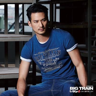 BIG TRAIN 經典文字潮T-男-灰藍