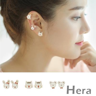 Hera 赫拉 釉彩貓咪兔子熊熊無耳洞耳環/耳扣/耳骨夾-1對入