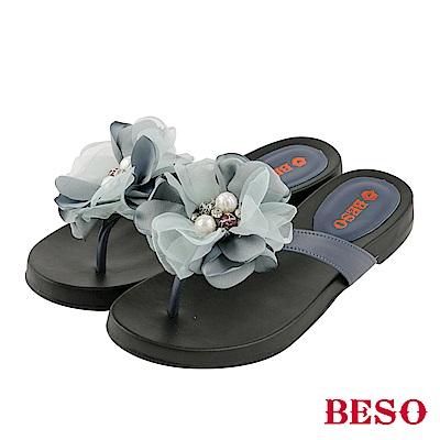 BESO 盛夏綻放 山茶花珍珠水鑽真皮夾腳涼拖鞋~藍