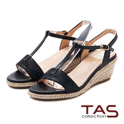 TAS 蛇紋T字繫帶麻繩楔型涼鞋~深邃黑