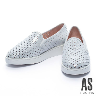 休閒鞋-AS-星星沖孔造型晶鑽全真皮厚底休閒鞋-銀