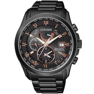 CITIZEN 光動能世界時間萬年曆防磁電波錶(AT9085-53E)-黑/43mm