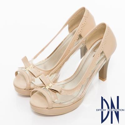 DN-沁涼夏季-MIT透明裸肌魚口高跟鞋-粉