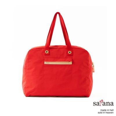 satana - 輕便肩背折疊旅行袋 - 中國紅