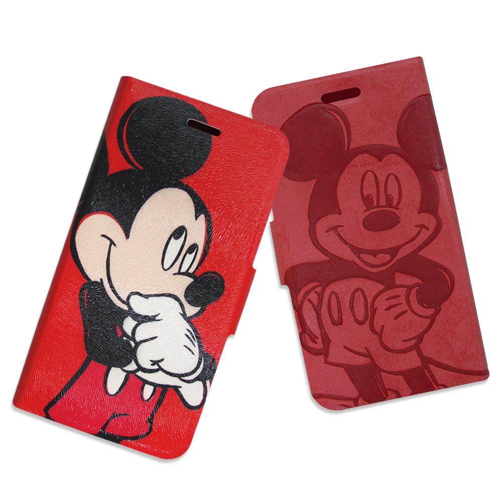迪士尼授權正版 iPhone 6s / 6 4.7吋 手繪壓印磁力皮套(雙面米奇)