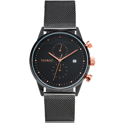 TAYROC 英式簡約時尚米蘭帶計時手錶-黑X玫瑰金/43mm