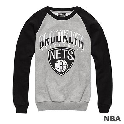 NBA-布魯克林籃網隊拉克蘭袖印花長袖厚T恤-麻灰 (男)