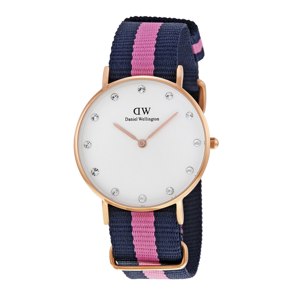 DW Daniel Wellington 深藍粉紅尼龍錶帶 晶鑽錶盤 玫瑰金錶框/34mm