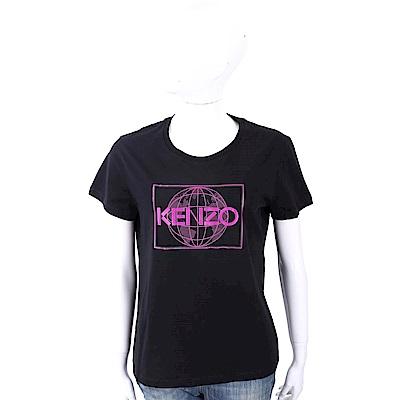 KENZO World 地球圖騰印花黑色棉質T恤