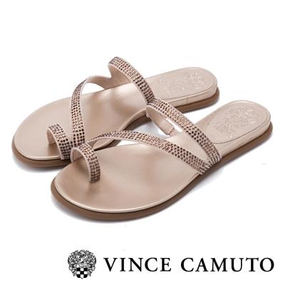 VINCE CAMUTO 閃耀時尚 水鑽曲線平底拖鞋-金色
