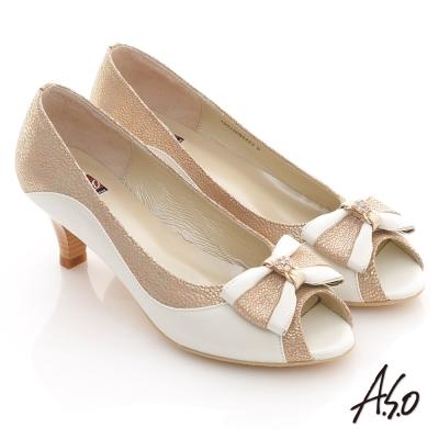 A.S.O 典雅職場 全真皮立體蝴蝶飾露趾低跟鞋 卡其