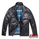 ZENO 簡約立領仿皮衣夾克外套‧黑色M-XXL